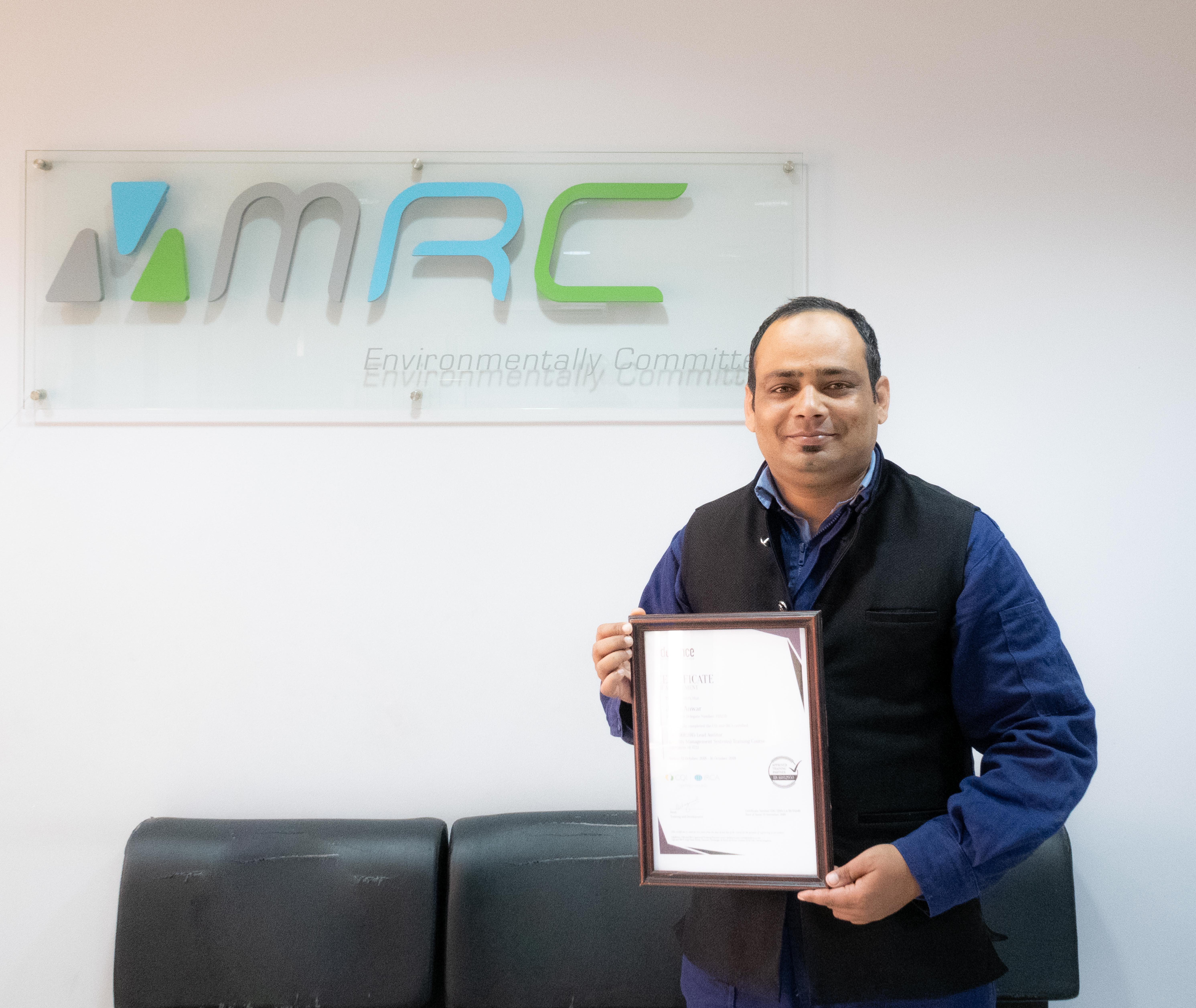 """Mr. Javed Anwar receives a new certification"""